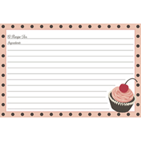 Cherry Cupcakes Recipe Cards
